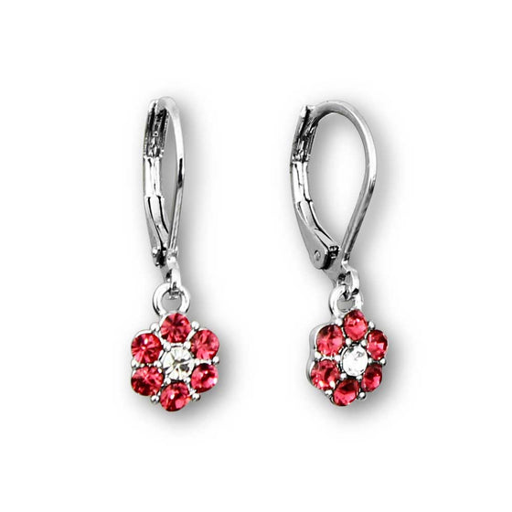 Crystal Flower Dangle Earrings Silver - 3 Color Choices Girls Earrings - Kids Jewelry A Touch of Dazzle Girls Jewelry