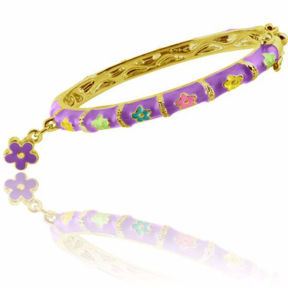 Purple Flower Charm Bangle Bracelet