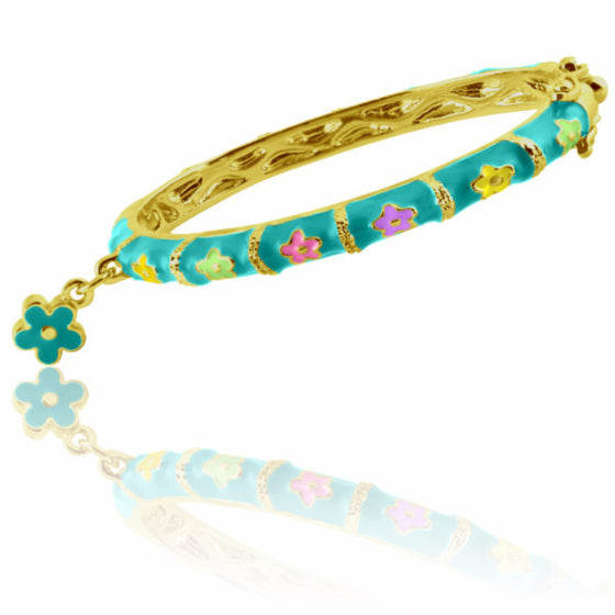 Teal Flower Charm Bangle Bracelet