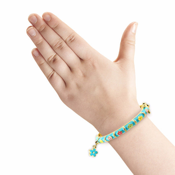 Teal Flower Charm Bangle Bracelet Girls Bracelet - Kids Jewelry A Touch of Dazzle Girls Jewelry