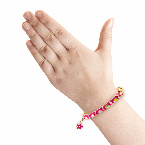 Pink Flower Charm Bangle Bracelet Girls Bracelet - Kids Jewelry A Touch of Dazzle Girls Jewelry