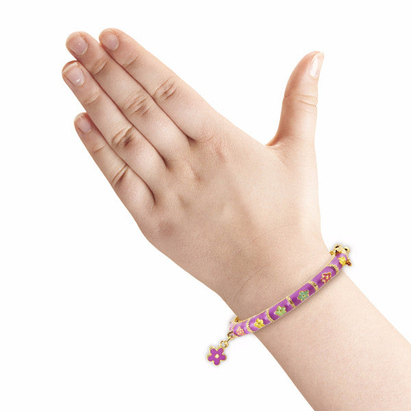 Purple Flower Charm Bangle Bracelet Girls Bracelet - Kids Jewelry A Touch of Dazzle Girls Jewelry