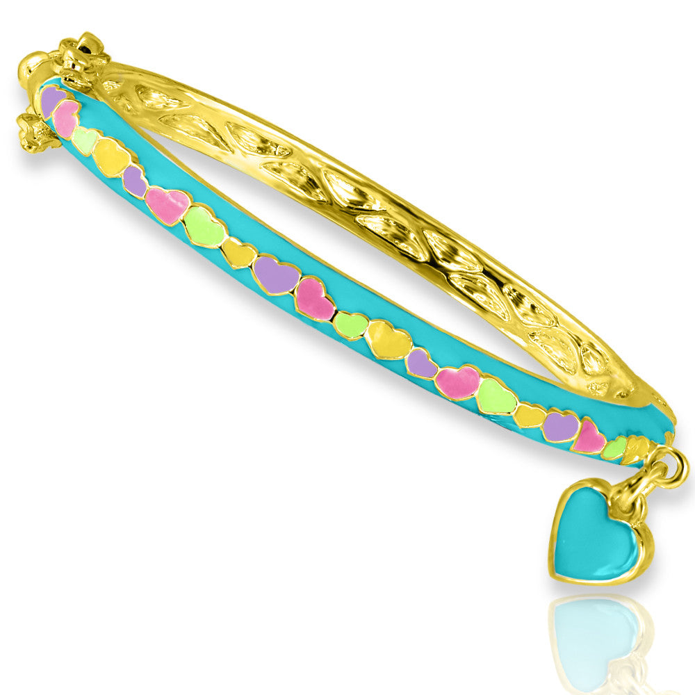 Teal Heart Charm Bangle Bracelet