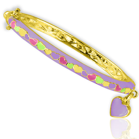 Heart Charm Bangle Bracelet - 4 Colors, 2 Sizes  - Kids Jewelry A Touch of Dazzle Girls Jewelry