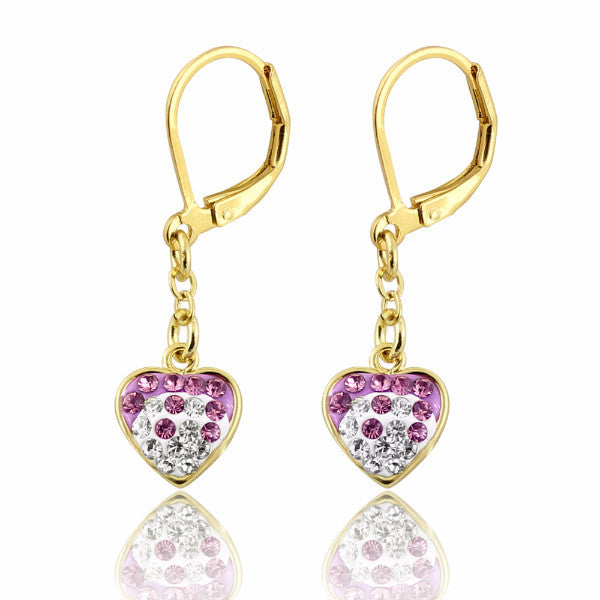 Clearance! 14k Gold Plated Two Tone Crystal Heart Leverback Earrings