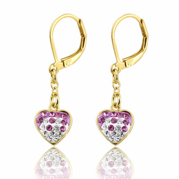 Clearance! 14k Gold Plated Two Tone Crystal Heart Leverback Earrings Clearance Women's Earrings - Kids Jewelry A Touch of Dazzle Girls Jewelry