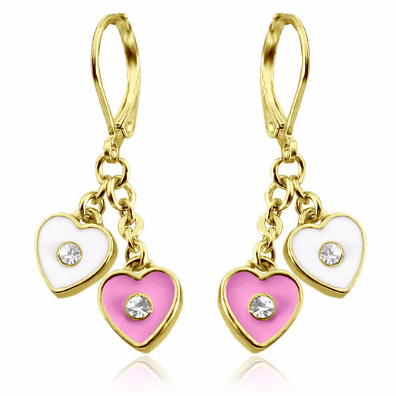 Double heart hand painted enamel earrings 18k gold plated