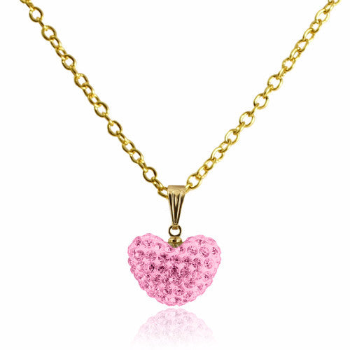 Pink Crystal puffed heart charm 14k gold plated necklace for girls