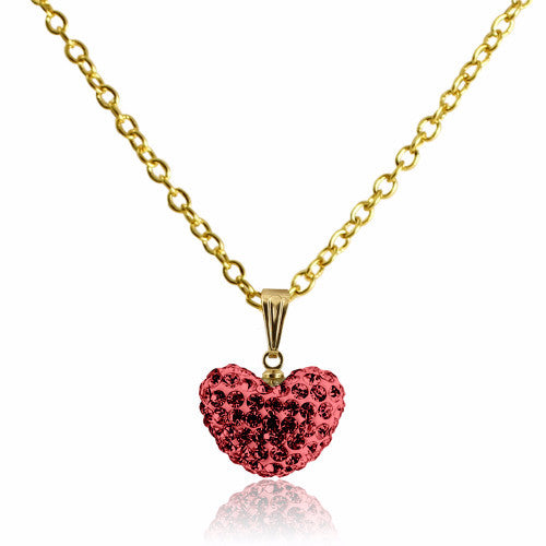 Red Crystal Heart Necklace Clearance Girls Necklace - Kids Jewelry A Touch of Dazzle Girls Jewelry