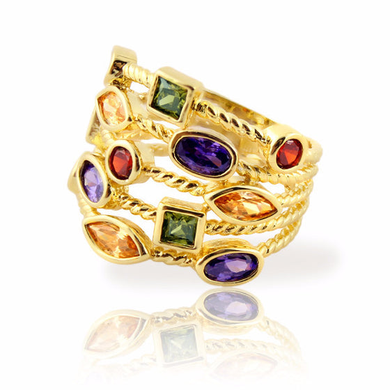 Clearance! Stacking Ring with Colored Gemstones Gold Plated Five Rows - 3 Sizes Available