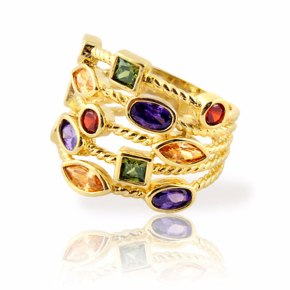 Clearance! Stacking Ring with Colored Gemstones Gold Plated Five Rows - 3 Sizes Available Clearance Womens Ring - Kids Jewelry A Touch of Dazzle Girls Jewelry