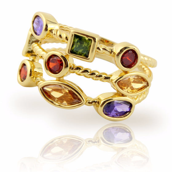 Clearance! Stacking Ring with Colored Gemstones Gold Plated Three Rows - 3 Sizes Available