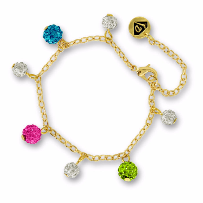 Multi Crystal Balls Charm Bracelet Girls Bracelet - Kids Jewelry A Touch of Dazzle Girls Jewelry