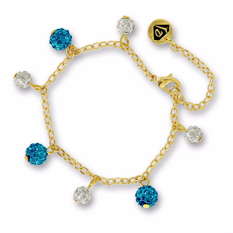 Blue Crystal Balls Charm Bracelet Girls Bracelet - Kids Jewelry A Touch of Dazzle Girls Jewelry