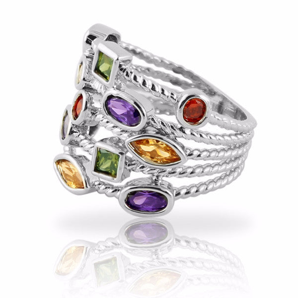 Clearance! Stacking Ring with Colored Gemstones Silver Plated Five Rows - 3 Sizes Available