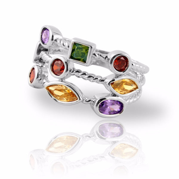 Clearance! Stacking Ring with Colored Gemstones Silver Plated Three Rows - 3 Sizes Available