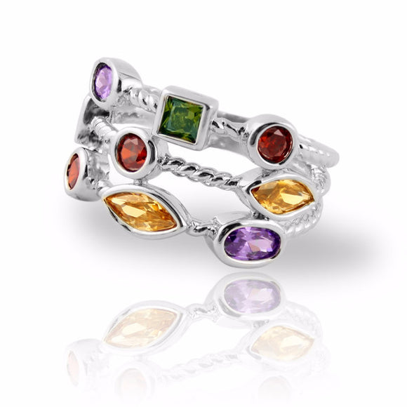 Designer Inspired Stacking Ring with Colored Gemstones Silver Plated Three Rows - 3 Sizes Available Clearance Womens Ring - Kids Jewelry A Touch of Dazzle Girls Jewelry
