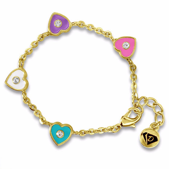 Color & Crystal Heart Charm Bracelet - 2 colors & Sizes Girls Bracelet - Kids Jewelry A Touch of Dazzle Girls Jewelry