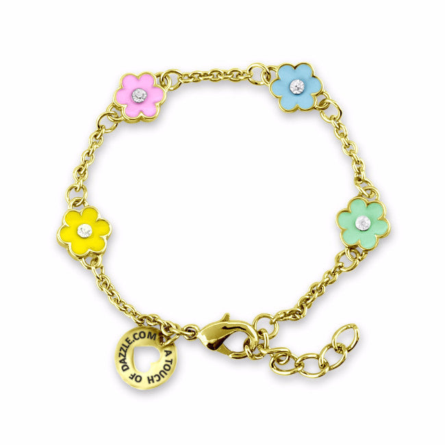 Yellow & Pink Flower Charm Bracelet