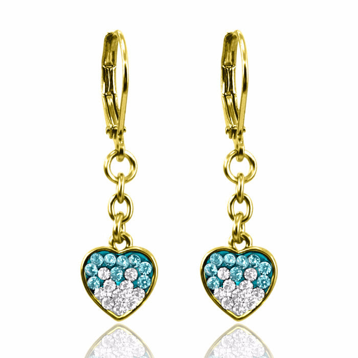 Crystal heart dangle earrings two color crystals 18k gold plated lever back