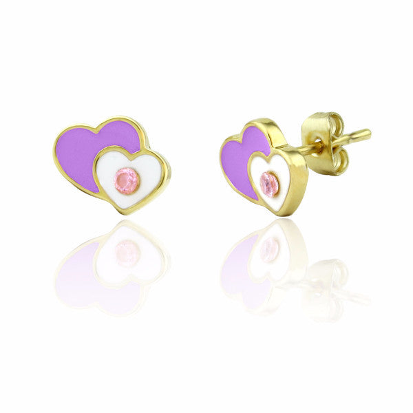 Purple and white stud earrings 18k gold plated girls earrings with crystal