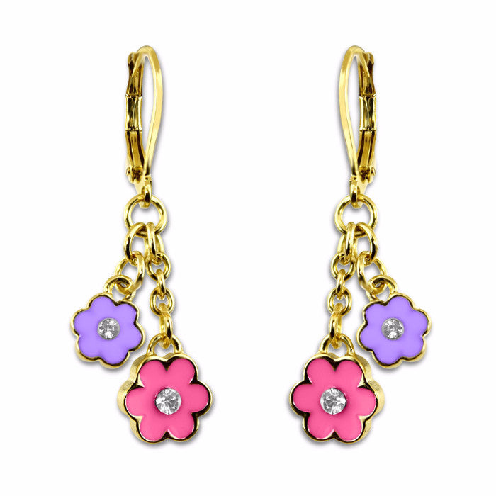 Purple and Pink Double flower hand painted enamel with crystal dangle earrings