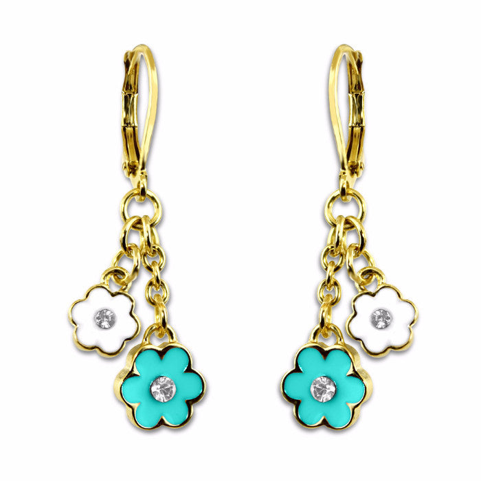 teal and white Double flower hand painted enamel with crystal dangle earrings