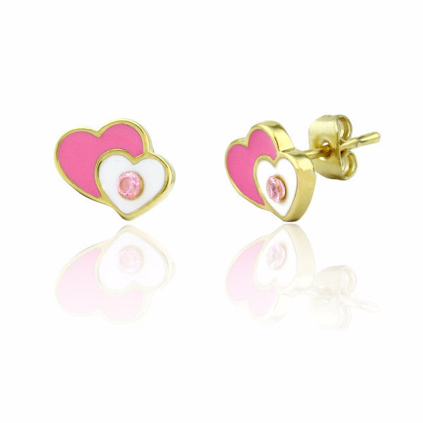 Double Heart Stud Earrings 18k GP - 2 Colors Girls Earrings - Kids Jewelry A Touch of Dazzle Girls Jewelry