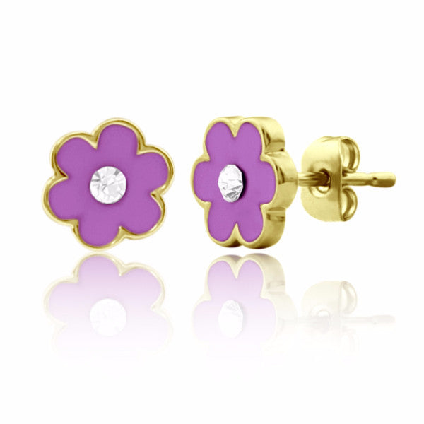 Purple Flower & Crystal Stud Earrings Girls Earrings - Kids Jewelry A Touch of Dazzle Girls Jewelry