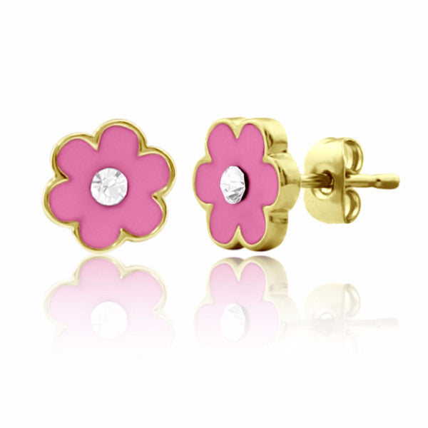 Pink Flower & Crystal Stud Earrings