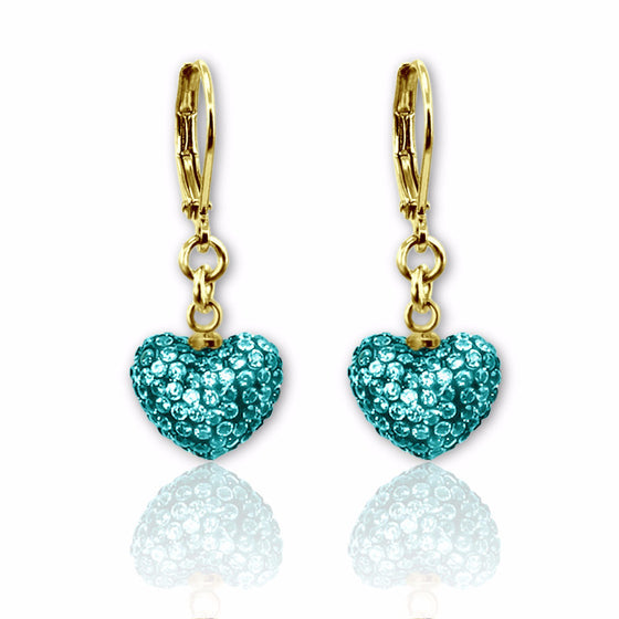 Teal blue crystal puffed heart charm lever back dangle earrings