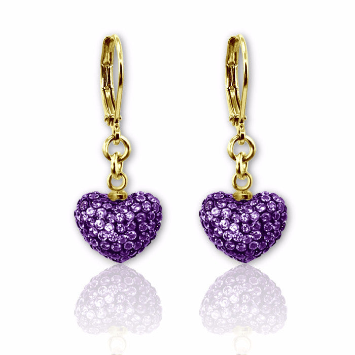 Purple crystal puffed heart charm lever back dangle earrings