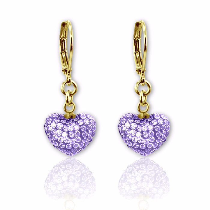 Lavender crystal puffed heart charm lever back dangle earrings