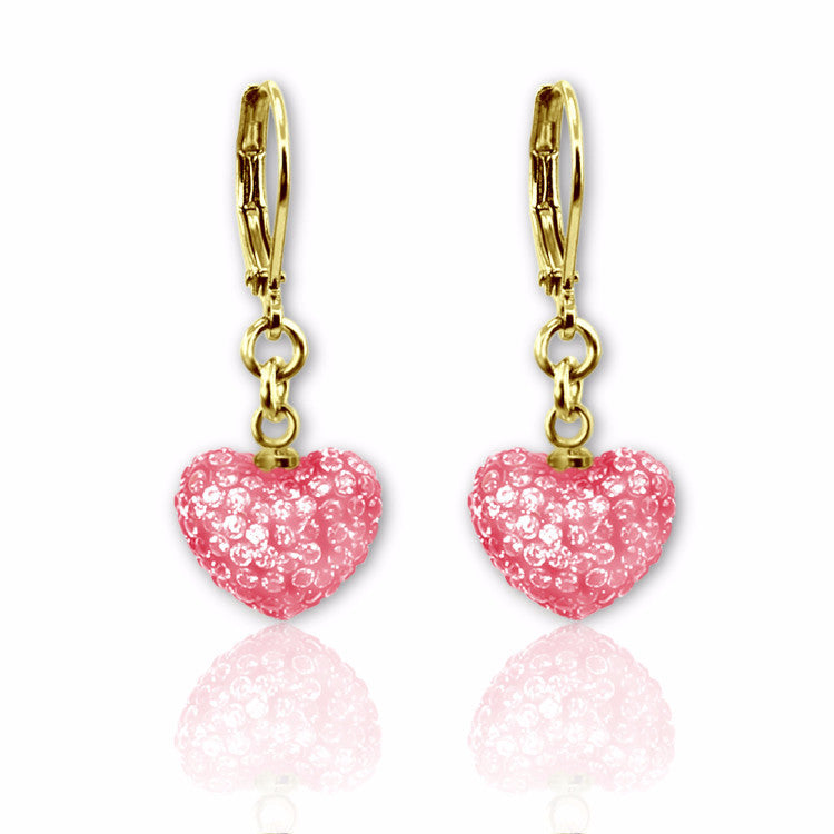 Pink crystal puffed heart charm lever back dangle earrings