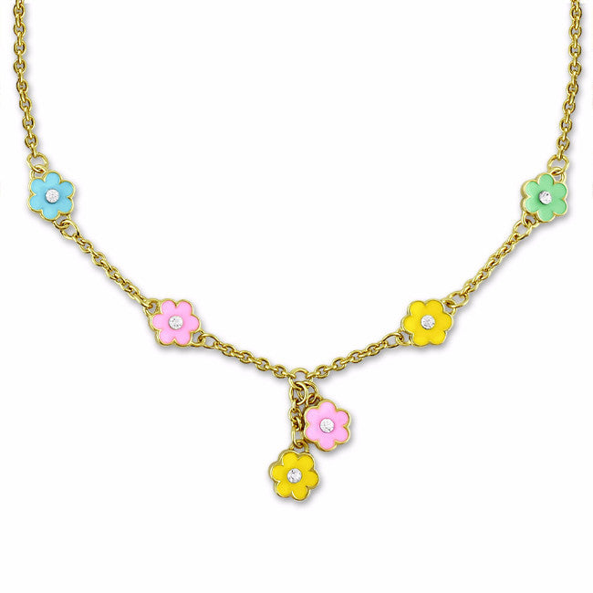 Yellow & Pink Flower Charm Necklace