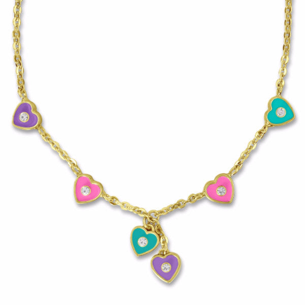 Clearance! 14k Gold Plated Heart and Crystal Charm Necklace