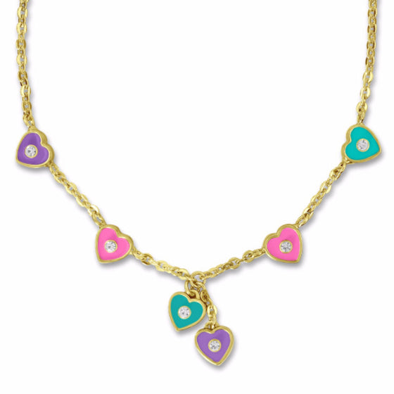 Clearance! 14k Gold Plated Heart and Crystal Charm Necklace Clearance Girls Necklace - Kids Jewelry A Touch of Dazzle Girls Jewelry