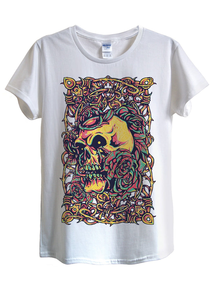 Skull Roses Vintage T-Shirts - Idea Is Good - 1