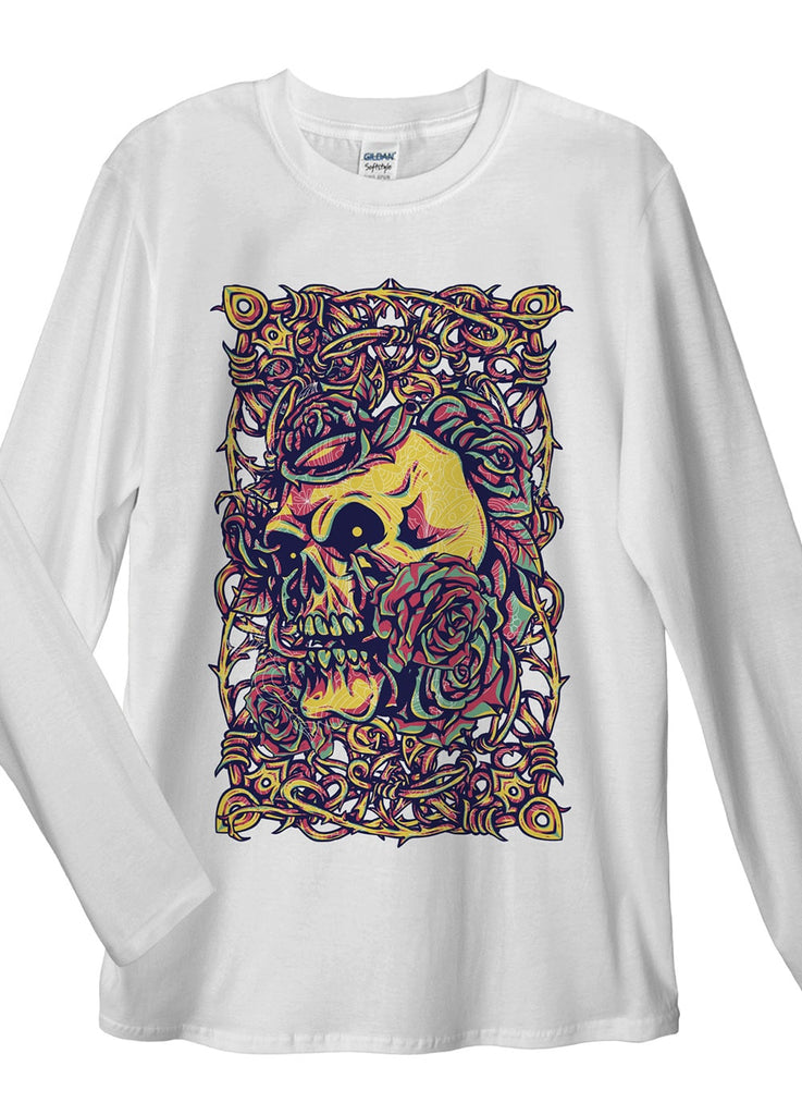 Skull Roses Vintage Long Sleeve T-Shirt - Idea Is Good