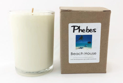 8.5 Oz Vegan Beach House Scented Candle in Glass Container