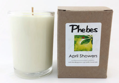 8.5 Oz Vegan April Showers Scented Candle in Glass Container