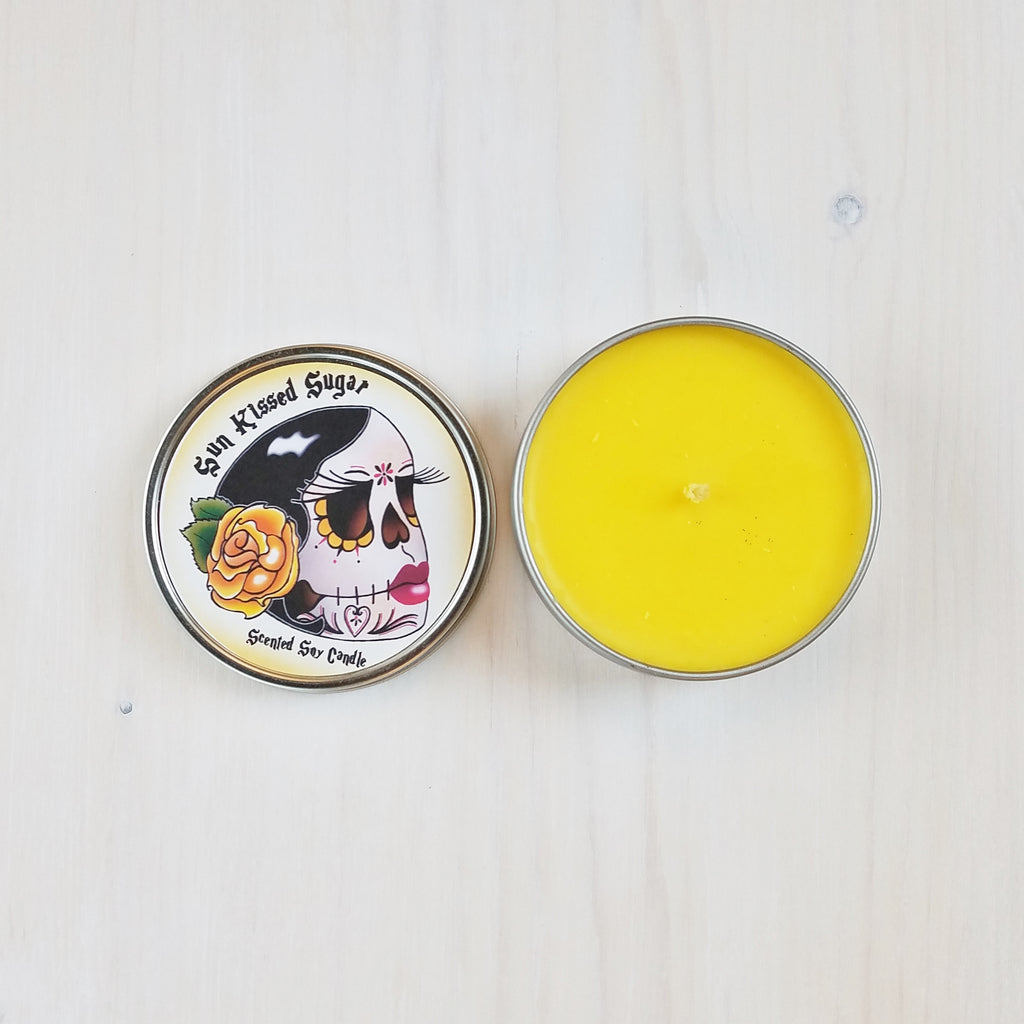 Sun Kissed Sugar Scented Vegan Travel Tin Candle