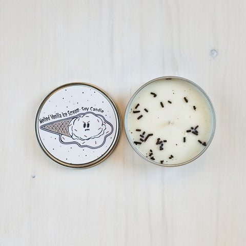 Melted Vanilla Ice Cream Scented Travel Tin Vegan Candle