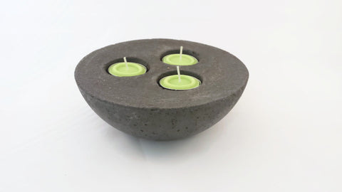 Concrete Tea Light Holder - 3 wick- Candle Holder - Neutral or Charcoal Tint