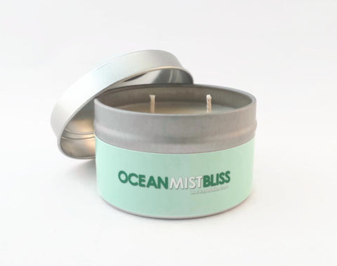4 Oz Ocean Mist Scented Vegan Soy Travel Tin Candles