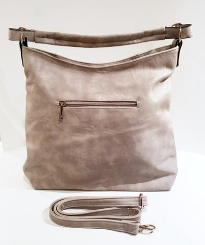 Marbled Faux Leather Beige Hobo Bag with Decorative Tassles - Handmade in Italy