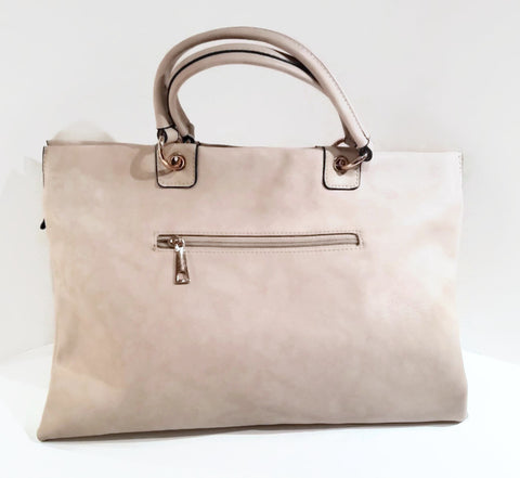 Cream RectangleTextured Satchel - Handmade in Italy