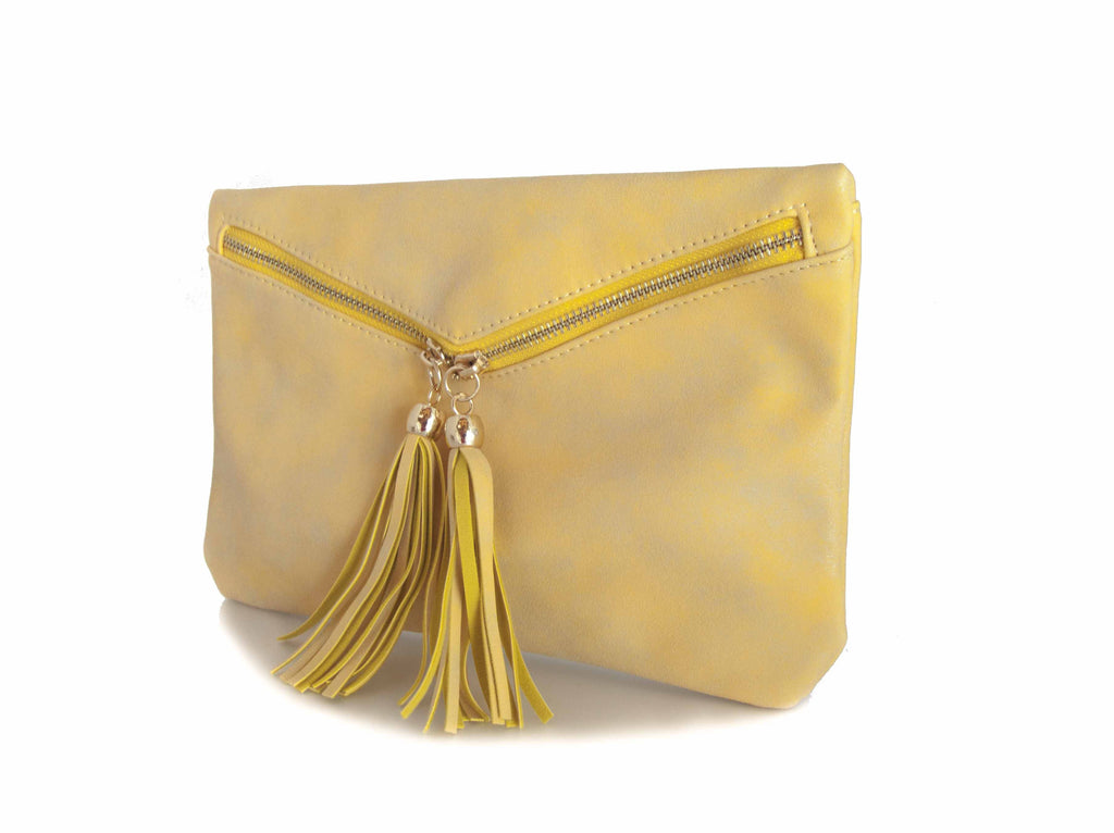 Yellow Faux Suede Envelope Clutch with Tassles.