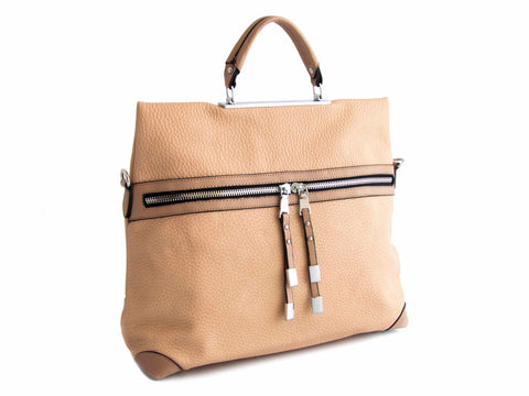 Nude, Front Opening Textured Faux Leather Satchel - Handmade in Italy