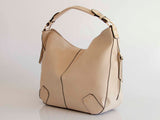 Nude Pebbled Faux Leather Hobo Bag - Handmade in Italy